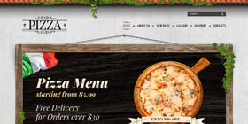 Free pizza hut web template and mobile website template for food.